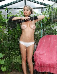 Naughty housewife gets wet..